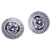 Sterling Silver Halo Cubic Zirconia Stud Earrings