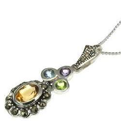 Victorian Gemstone Pendant Necklace in Sterling Silver