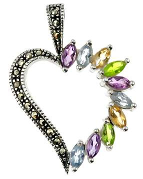 Sterling Silver and Marcasite and Gemstone Heart Pendant