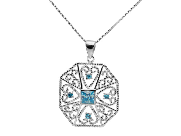 Sterling Silver Filigree Topaz Pendant Necklace