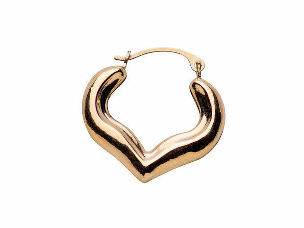 10K Yellow Gold Heart Shape Hoop Earrings with Hinged Clasp