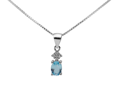 Sterling Silver, Blue Topaz & Swarovski Crystal Pendant Necklace