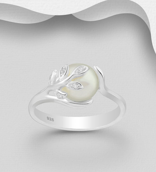 Sterling Silver Freshwater Pearl and Diamond Simulant Branch and Leaf Ring
