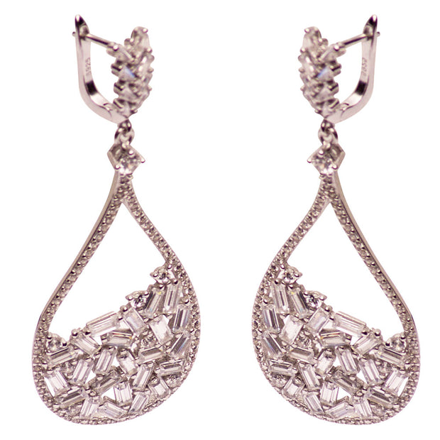Art Deco Style Swarovski Crystal Dangle Earrings | SilverAndGold