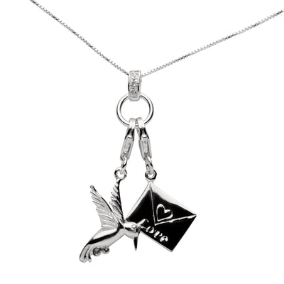 Sterling Silver and Gemstone Dove and Love Letter Charm Necklace