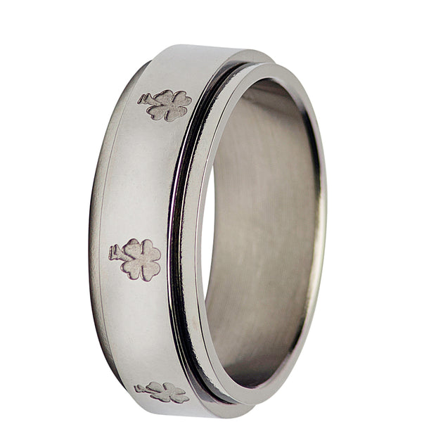 Silver Spinner Ring Lucky Clover Design