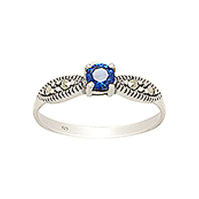 Blue Diamond Simulant and Marcasite Sterling Silver Ring
