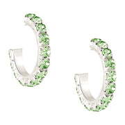 Created Peridot Hoop Earrings in Sterling Silver