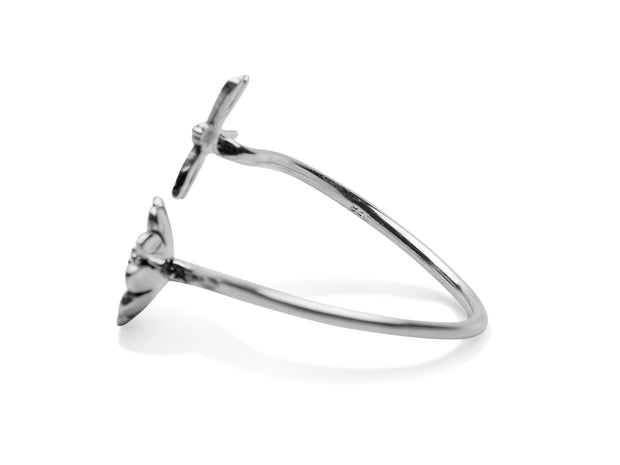 Sterling Silver Dragonfly and Sunflower Ring