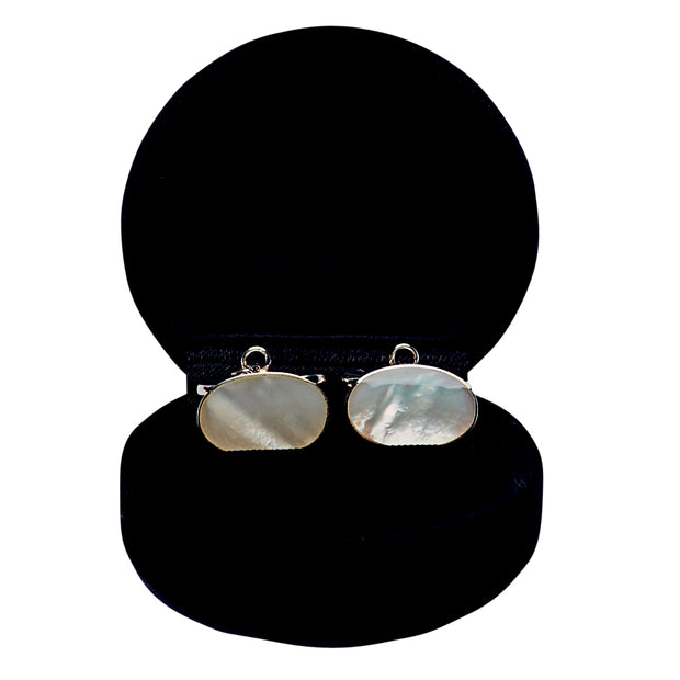Mother of Pearl White Sterling Silver Cufflinks | SilverAndGold