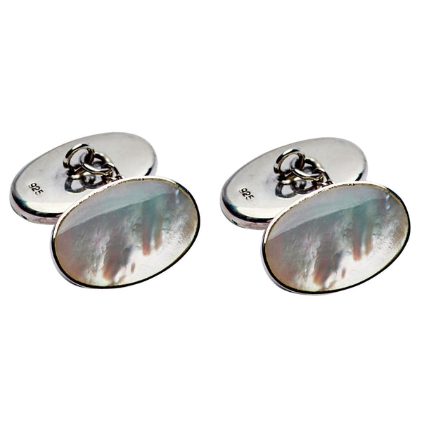 Sterling Cufflinks: Genuine Mother of Pearl White