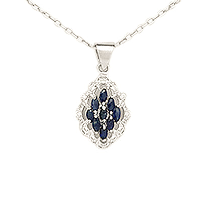 Blue Sapphire & Diamond Simulant Sterling Silver Pendant Necklace