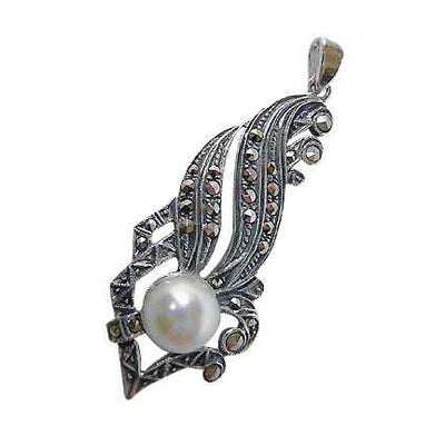 Sterling Silver Marcasite & Imitation Pearl Classical Pendant