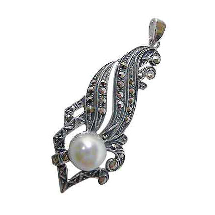 Sterling Silver Marcasite & Created Pearl Classical Pendant