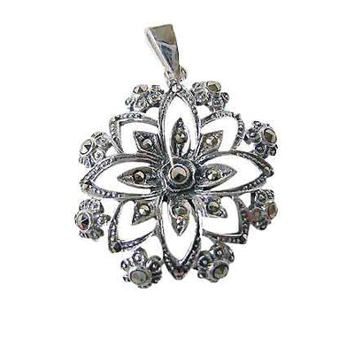 Sterling Silver And Marcasite Floral Pendant