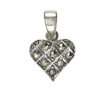 Sterling Silver And Marcasite Mini Heart Pendant