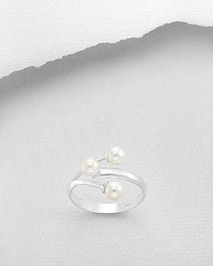 Sterling Silver Created Pearl Faux Wrap Ring