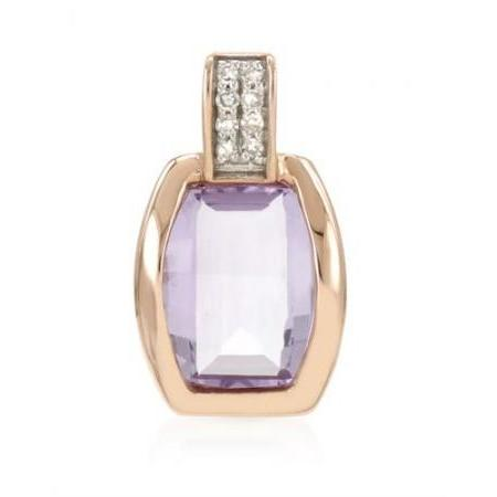 1.15 ct Amethyst and 0.03 ct Diamond Pendant in 14K Rose Gold