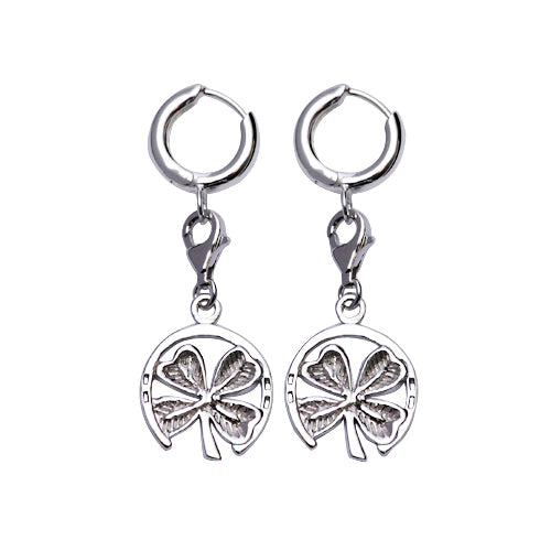 Sterling Silver Earrings: Circular Four-Leaf Clovers - SilverAndGold.com Silver And Gold