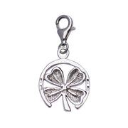 Circular Sterling Silver Four-Leaf Clover Charm - SilverAndGold.com Silver And Gold