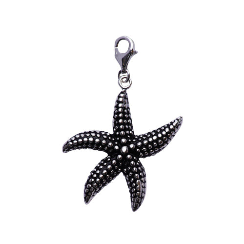 Sterling Silver and Rhodium Starfish Charm Pendant - SilverAndGold.com Silver And Gold