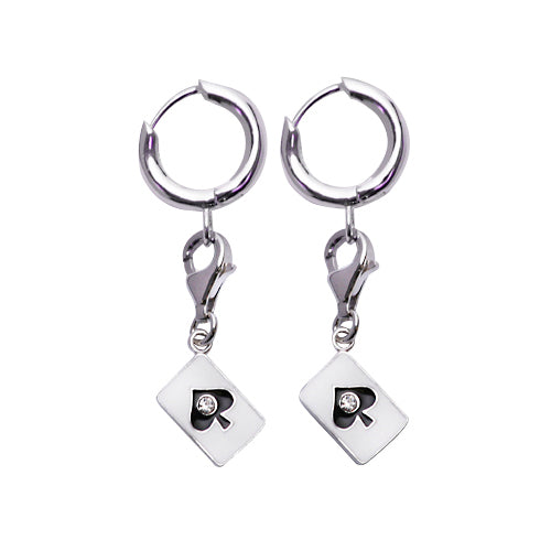 Ace of Spades Cubic Zirconia Charm Earrings | SilverAndGold