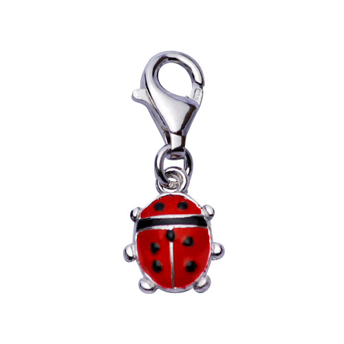 Sterling Silver & Enamel Necklace: Black and Red Ladybug - SilverAndGold.com Silver And Gold