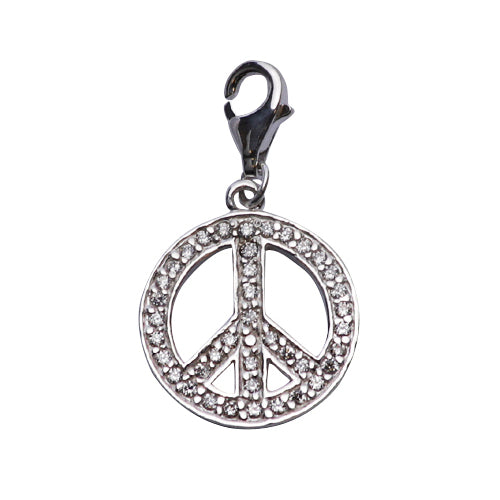 Crystal Peace Sign Charm Silver Earrings | SilverAndGold