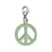 Sterling Silver and Lime Green Enamel Peace Sign Charm - SilverAndGold.com Silver And Gold
