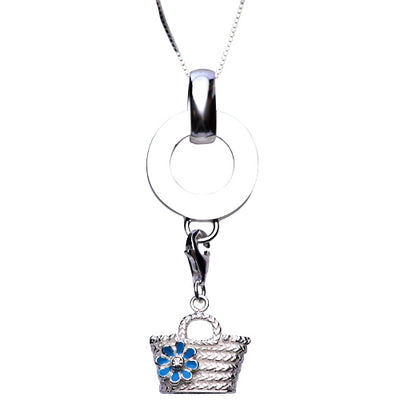 Sterling and Blue Enamel Bucket Tote Sterling Silver Pendant Necklace - SilverAndGold.com Silver And Gold