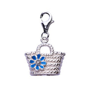 Sterling Silver Bucket Tote Charm with Blue Enamel Flower - SilverAndGold.com Silver And Gold