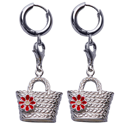 Sterling Silver Earrings: Woven Bucket Handbag with Red Enamel Flower - SilverAndGold.com Silver And Gold