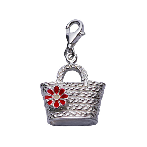 Sterling Silver Mesh Bucket Handbag with Red Flower Detail in Enamel - SilverAndGold.com Silver And Gold