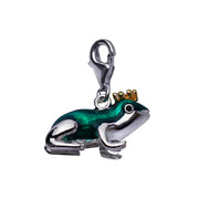 Sterling Frog Prince Charm Pendant in Green and Gold Enamel - SilverAndGold.com Silver And Gold