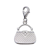 Sterling Silver Tote Handbag Charm with Crystal Gemstone Detail - SilverAndGold.com Silver And Gold