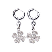 Sterling Silver Four-Leaf Clover Charm Earrings | SilverAndGold