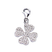 Sterling Silver and CZ Charm Bracelet: Lucky Clovers and Ladybug - SilverAndGold.com Silver And Gold