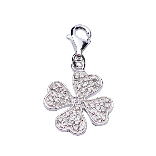 Crystal Gemstone and Sterling Four-Leaf Clover Charm Pendant - SilverAndGold.com Silver And Gold