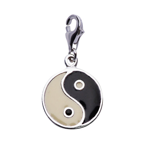 Sterling and Enamel Yin and Yang Sterling Silver Pendant Necklace - SilverAndGold.com Silver And Gold