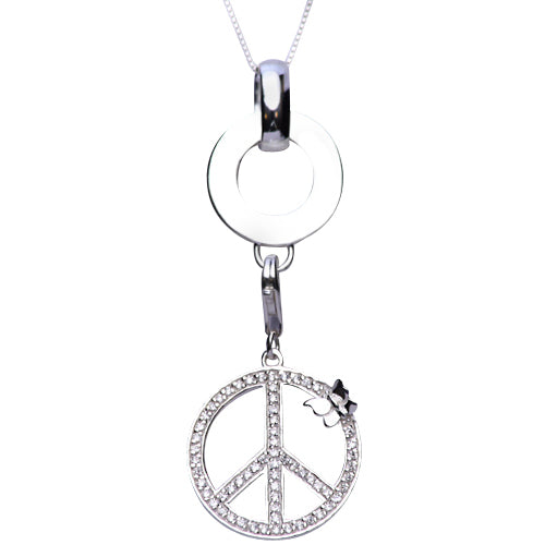 Crystal Gemstone Peace Sign Sterling Silver Pendant Necklace - SilverAndGold.com Silver And Gold