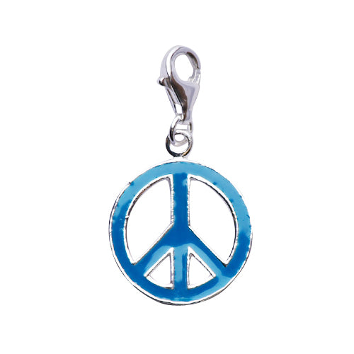 Sterling Silver and Turquoise Enamel Peace Sign Charm - SilverAndGold.com Silver And Gold