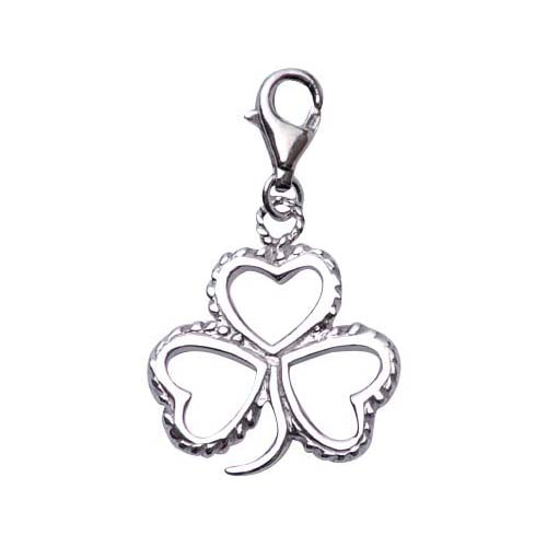 Sterling Silver Shamrock Charm with Braided Edge Detail - SilverAndGold.com Silver And Gold