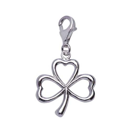 Polished Sterling Silver Shamrock Charm - SilverAndGold.com Silver And Gold