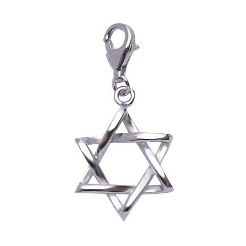 Sterling Silver Star of David Charm with Intwined Design - SilverAndGold.com Silver And Gold