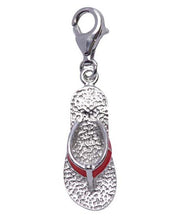 Sterling Silver Flip-Flop Charm with Red Enamel - SilverAndGold.com Silver And Gold