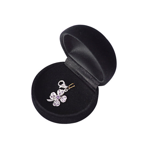 Sterling Silver Four-Leaf Clover Charm with Purple Crystal Gemstones - SilverAndGold.com Silver And Gold