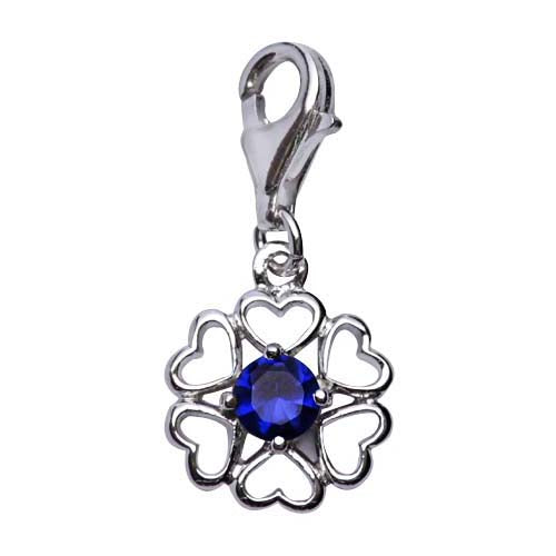 Sterling Silver Flower Design Charm with Blue Crystal Gemstone - SilverAndGold.com Silver And Gold