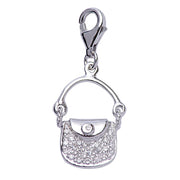 Sterling Silver and Crystal Gemstone Purse Charm - SilverAndGold.com Silver And Gold