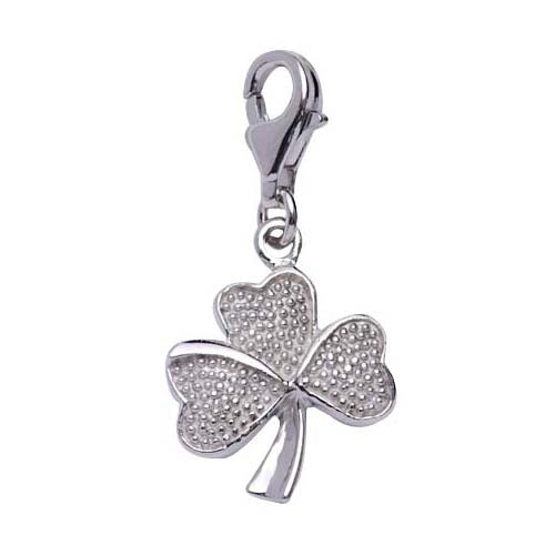 Textured Sterling Silver Shamrock Charm - SilverAndGold.com Silver And Gold