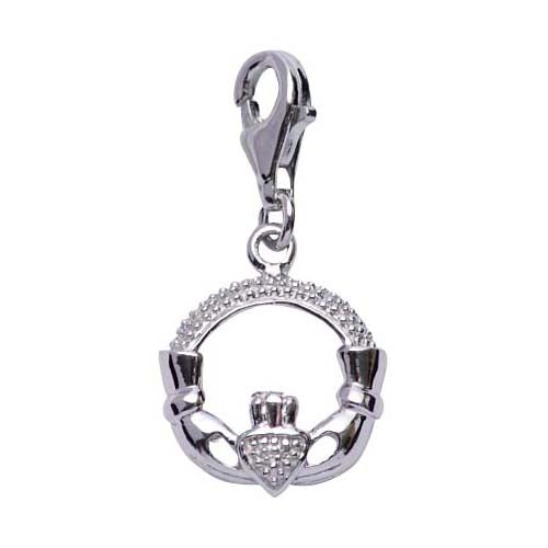Polished Sterling Silver Celtic Friendship Claddagh Charm - SilverAndGold.com Silver And Gold